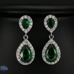 Emerald white sapphire teardrop earrings